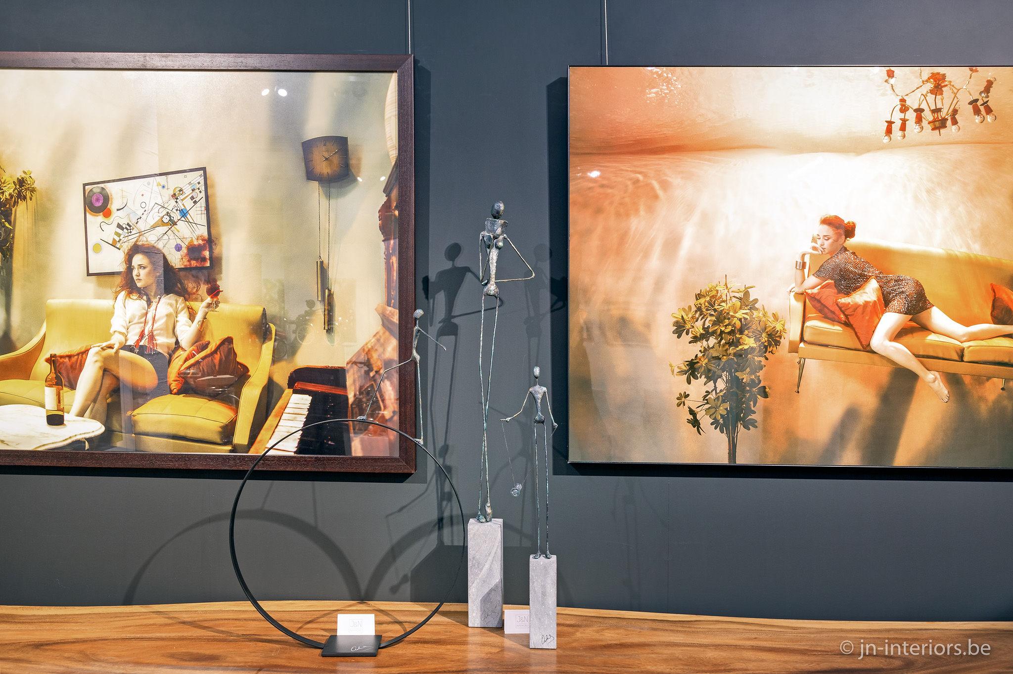 photographe belge, galerie d'art, sculpture fil de fer, magasin de décoration, vernissage, exposition jn interiors, jour et nuit liège verviers