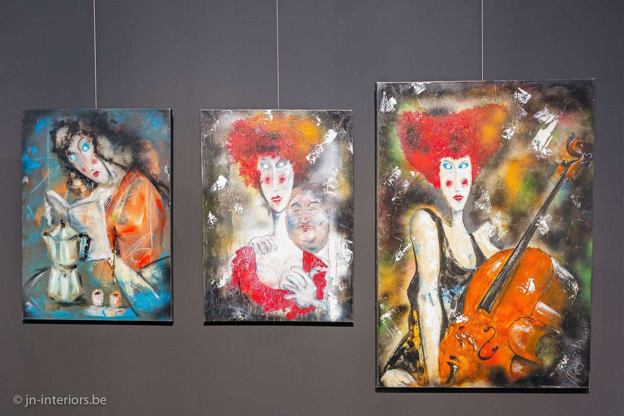 peintures, oeuvre d'art, artiste belge, femme peinture, magasin de décoration belgique, galerie d'art, jn interiors, jour et nuit liège verviers