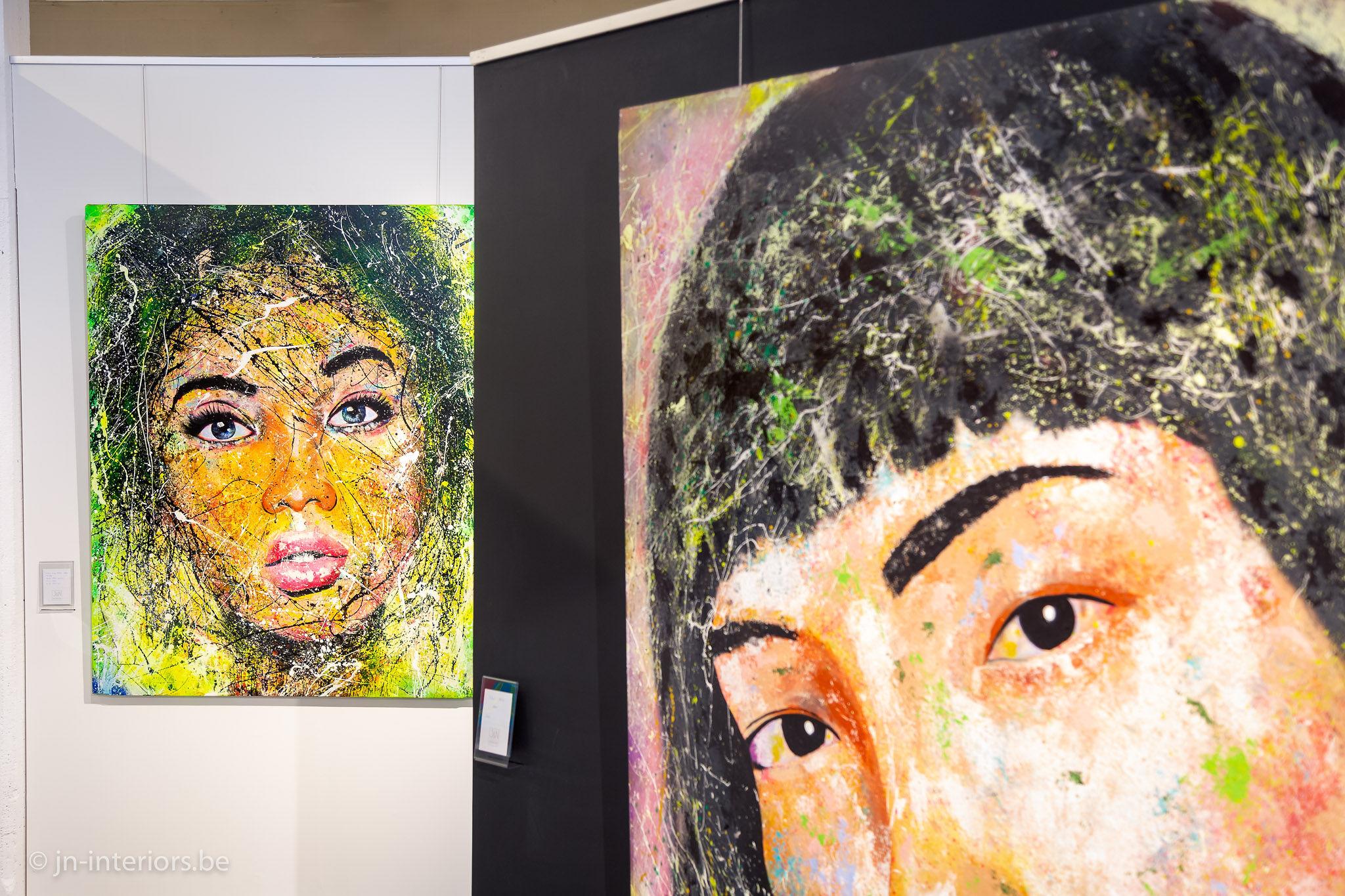 tableaux de visages, oeuvre d'art, galerie d'art, exposition, artiste belge, peintre belge, JN interiors, jour et nuit liège verviers, magasin de décoration belgique