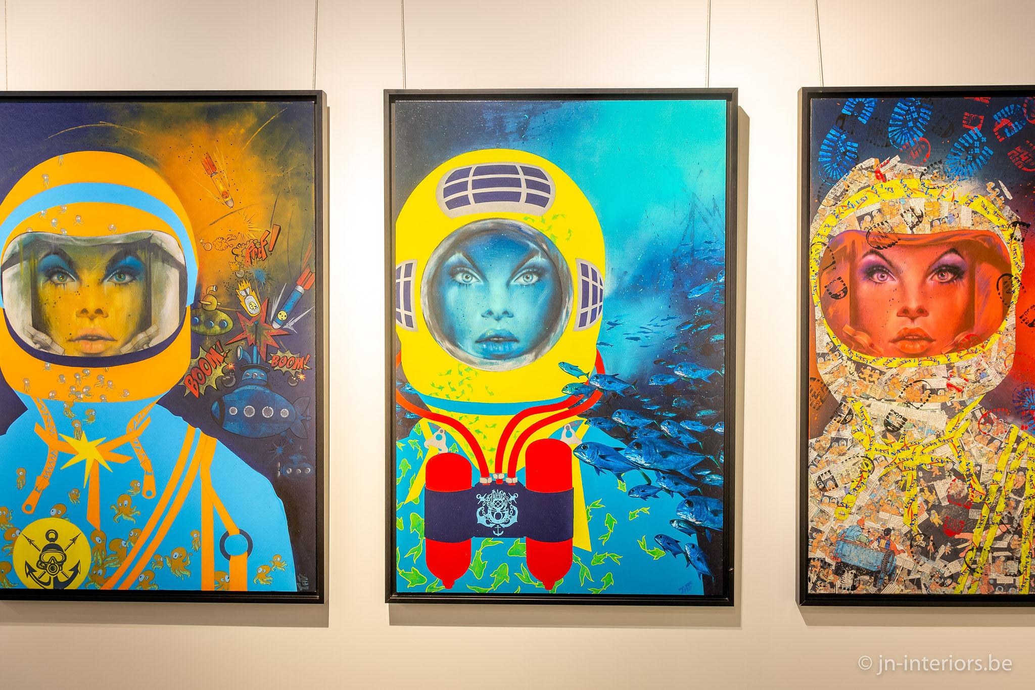 tableaux femmes astronautes, couleurs pop, galerie d'art, artiste belge, magasin de décoration belgique, exposition art, vernissage, galerie d'art, jn interiors, jour et nuit liège verviers