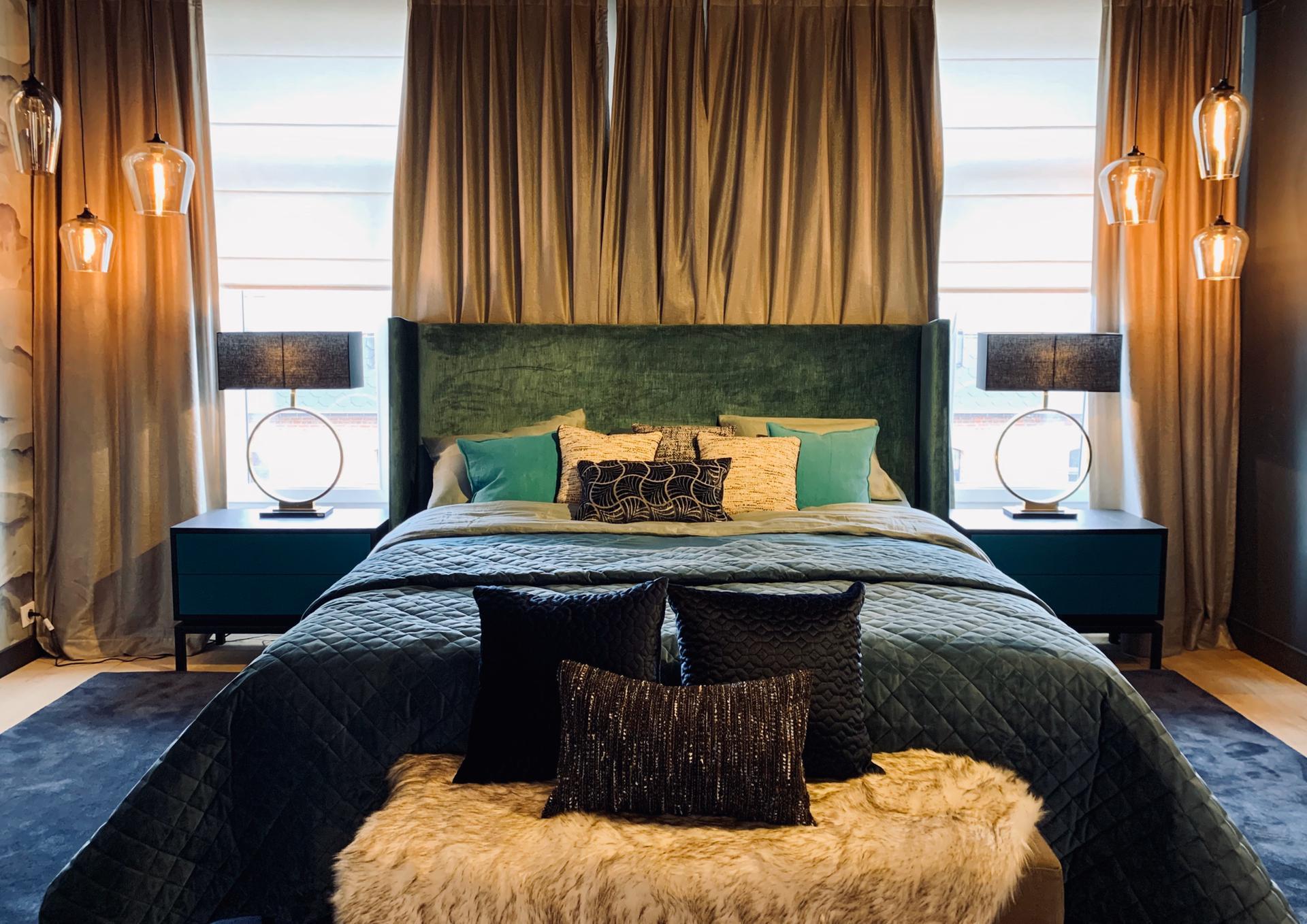 chambre lit luxe, décoration intérieure, cosy chaleureux confort, JN interiors, jour et nuit liège verviers